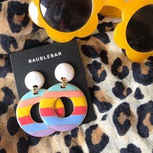 BaubleBar gold enamel multicolor earrings